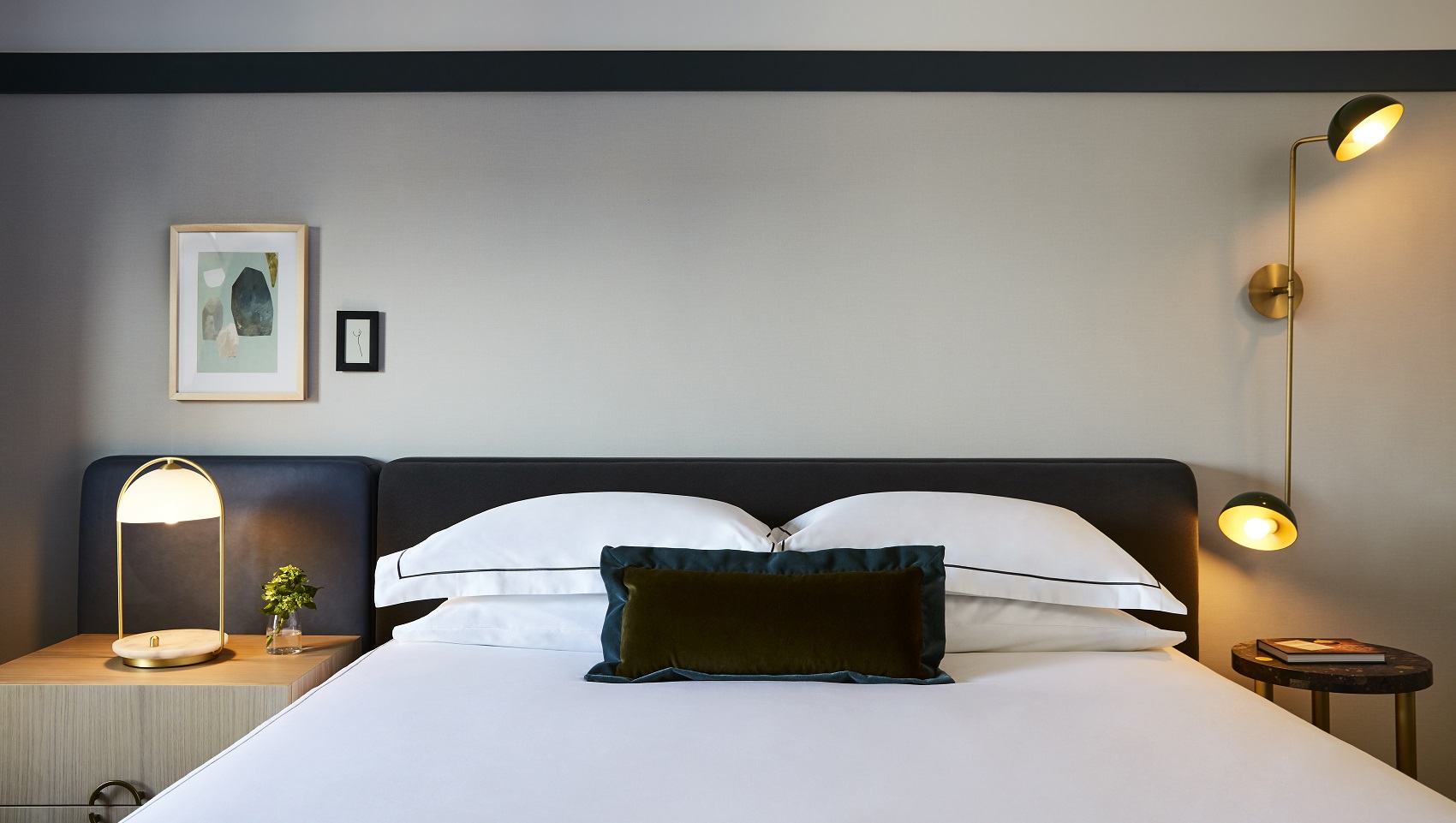 Bedroom, Art, green velvet pillow, black headboard, White Frette Sheets